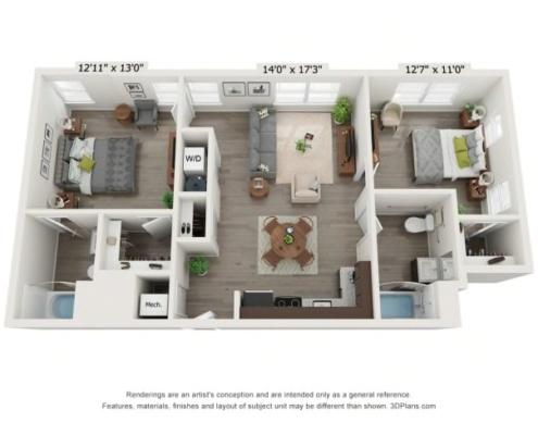 2 Bedroom 2 Bath Floor Plan detail at High Street Commons